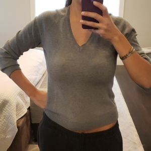 WOMEN'S GREY ZARA V NECK SWEATER TOP